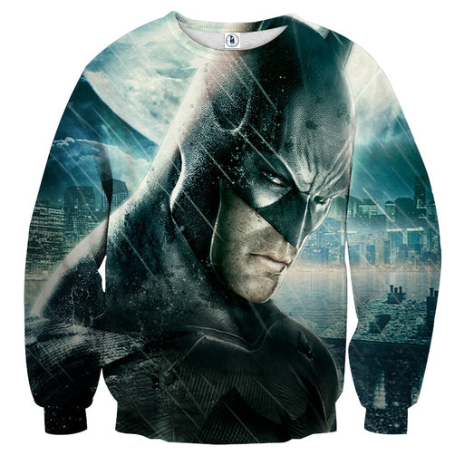 Fierce Batman Face Shot Under The Rain Full Print  Sweatshirt