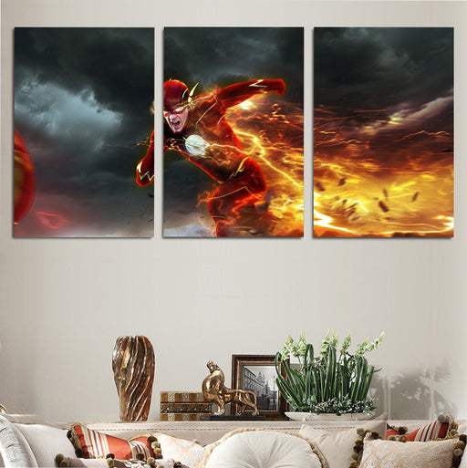 Flash Running Super Fast With Orange Lightning 3pcs Canvas