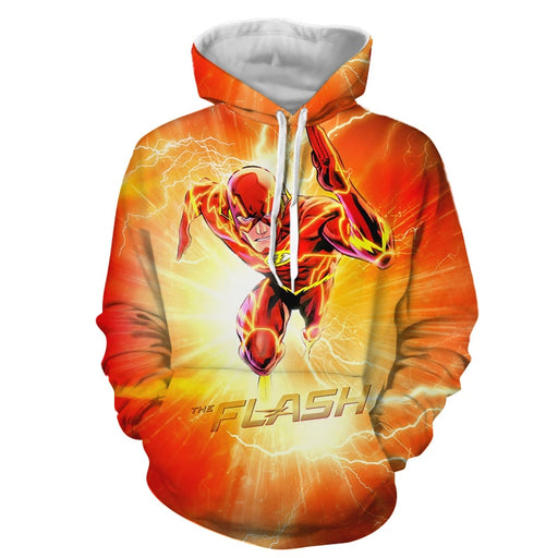 Flash The Fastest Man Alive Cartoon Design Orange Hoodie