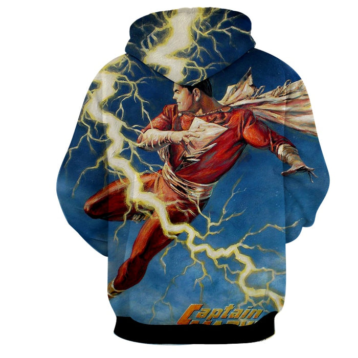 Flying Captain Marvel Shazam DC Comics Lightning Blue Chic Hoodie