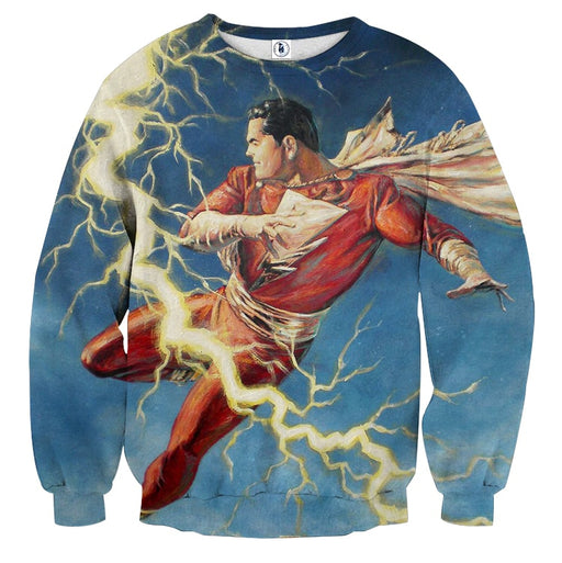 Flying Captain Marvel Shazam DC Comics Lightning Blue Chic Sweatshirt