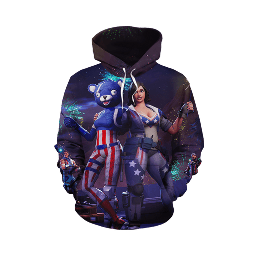 Fortnite Battle Royal Fireworks Team Leader Full Print Hoodie