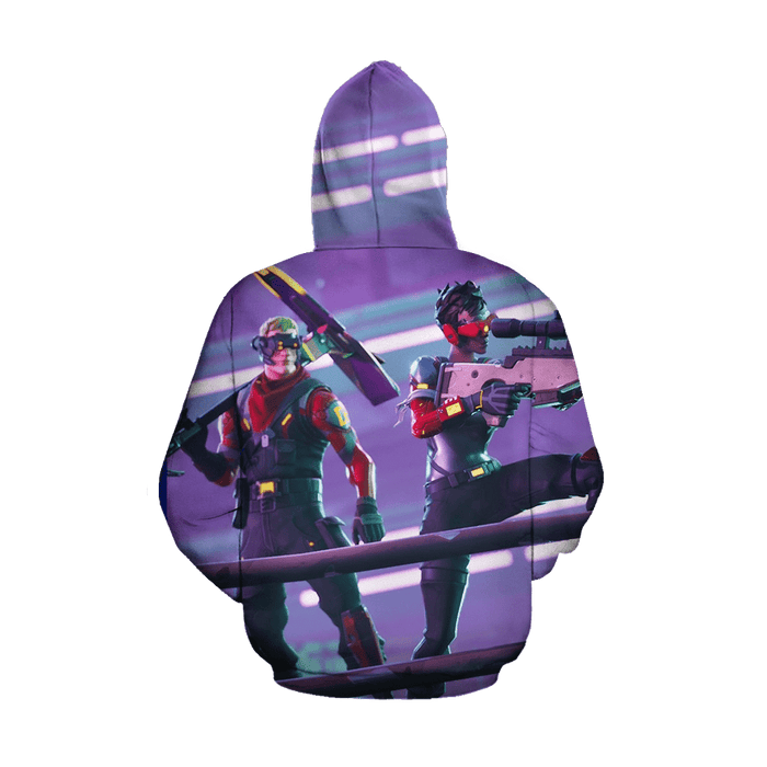 Fortnite Battle Royal Rocket Launch Amazing Purple Hoodie