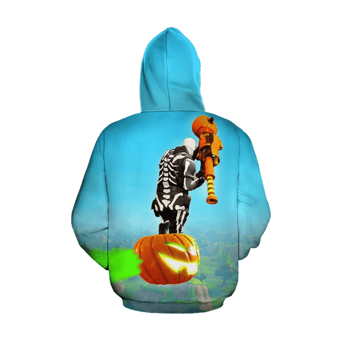 Fortnite Epic Game Flying With Pumpkin Sky Blue Hoodie