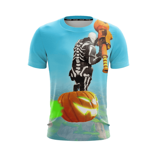 Fortnite Epic Game Flying With Pumpkin Sky Blue T-Shirt