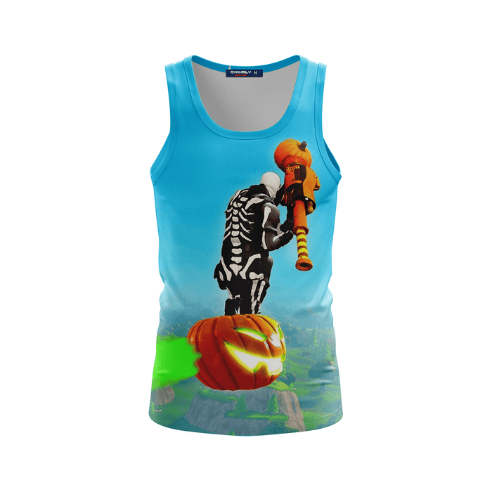 Fortnite Epic Game Flying With Pumpkin Sky Blue Tank Top