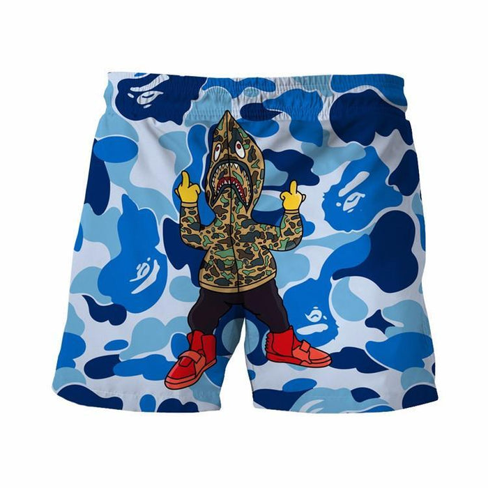 Fuck Off Gangsta Shark Camo Camouflage Army Blue 3D Shorts - Superheroes Gears