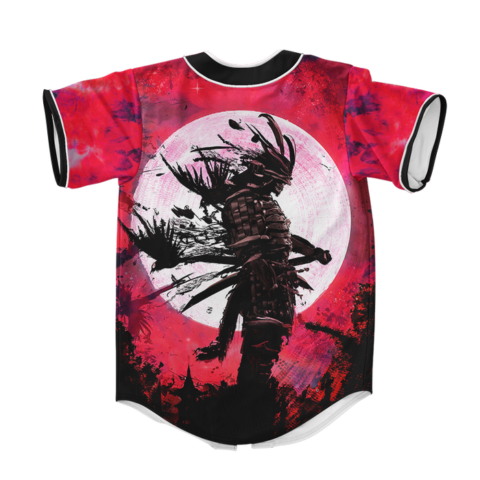 Full Moon Crow Samurai Red Tie Dye Baseball Jersey