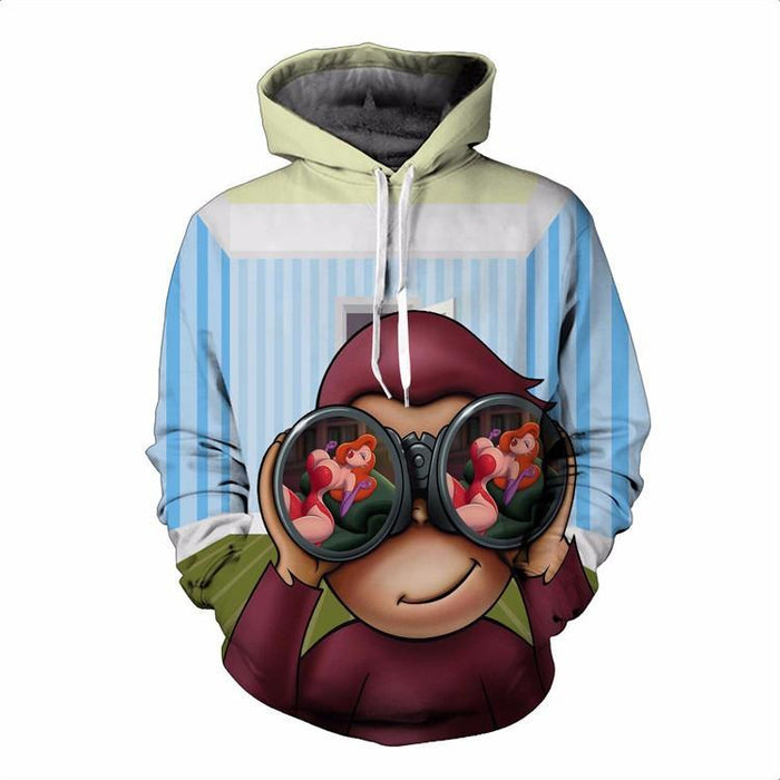 Funny Mischievous Cartoon Monkey Binoculars Sexy Lady Hiphop 3D Hoodie - Superheroes Gears