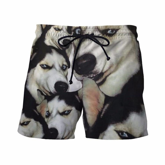 Funny Siberian Husky Dog Emoji Pattern Big Version Cool 3D Shorts - Superheroes Gears