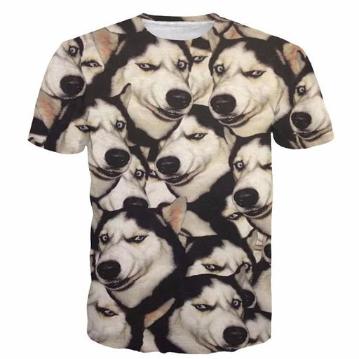 8b803ecb Funny Siberian Husky Dog Emoji Pattern Big Version Cool 3D T-Shirt -  Superheroes Gears