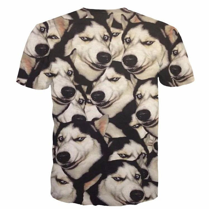 Funny Siberian Husky Dog Emoji Pattern Big Version Cool 3D T-Shirt - Superheroes Gears