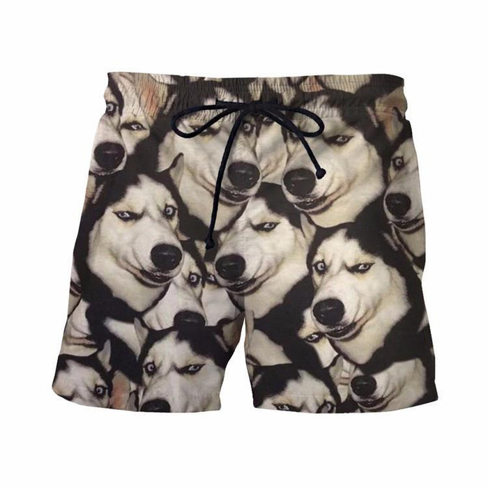 Funny Siberian Husky Dog Emoji Pattern Small Version Cool 3D Shorts - Superheroes Gears