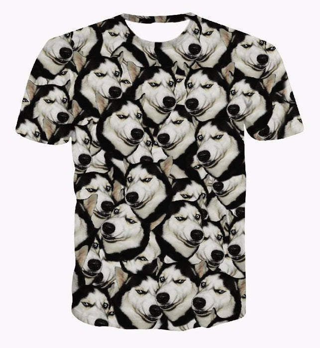 Funny Siberian Husky Dog Emoji Pattern Small Version Cool 3D T-Shirt - Superheroes Gears