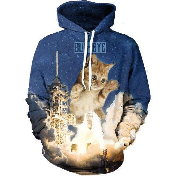 Giant Cat Buh-Bye Flying Universe Galaxy Cute Trendy Hoodie - Superheroes Gears