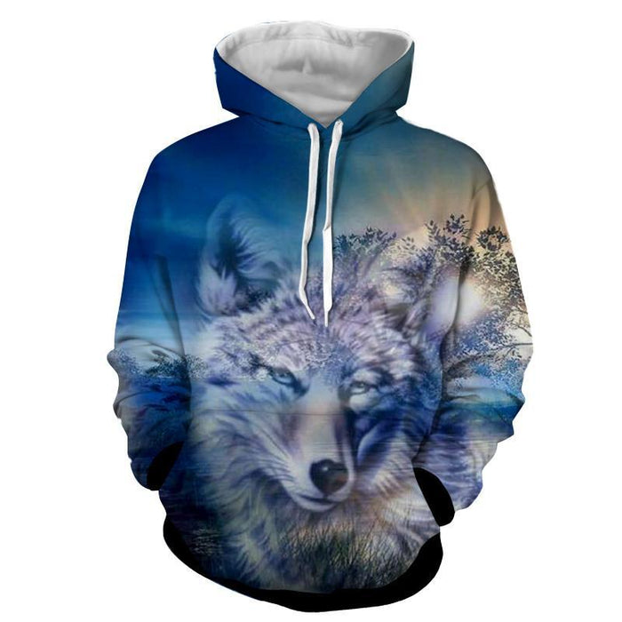 Grey Wolf Portrait Sunset Background Cool Winter Hoodie - Woof Apparel