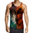 Half Burning Face Fierce Wolf Vibrant Print Tank Top