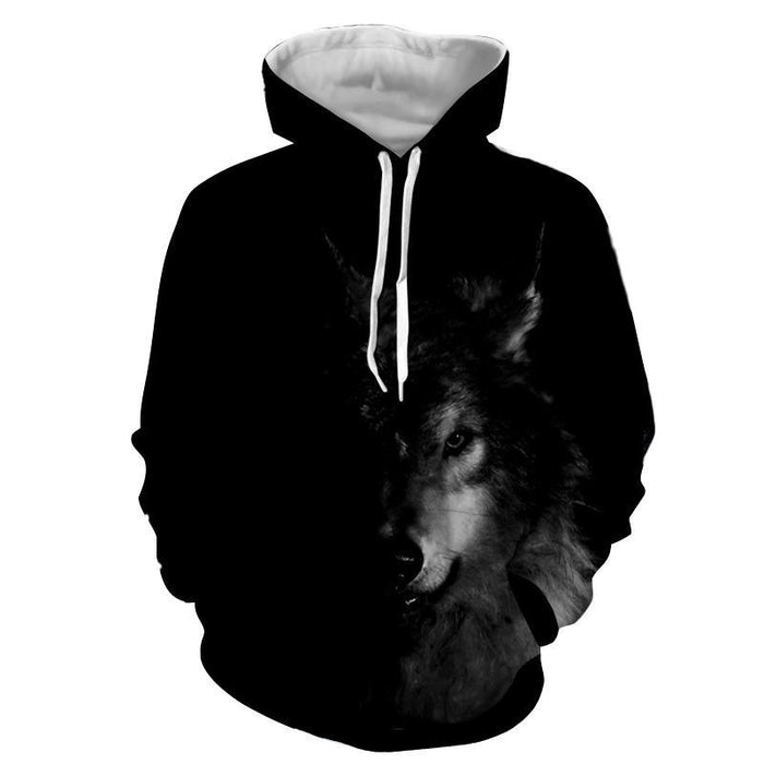 Half Face Wolf Hidden Capturing Cool Charcoal Print Hoodie - Woof Apparel