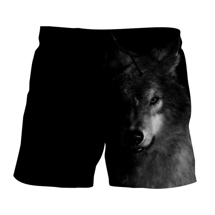 Half Face Wolf Hidden Capturing Cool Charcoal Print Shorts - Woof Apparel