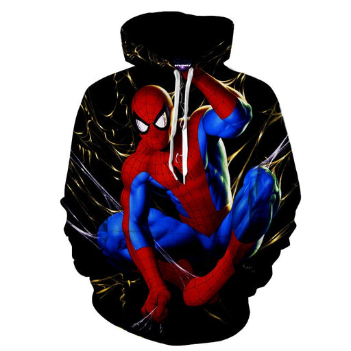Hanging Spider Web Spider-Man Red Full Print Hoodie