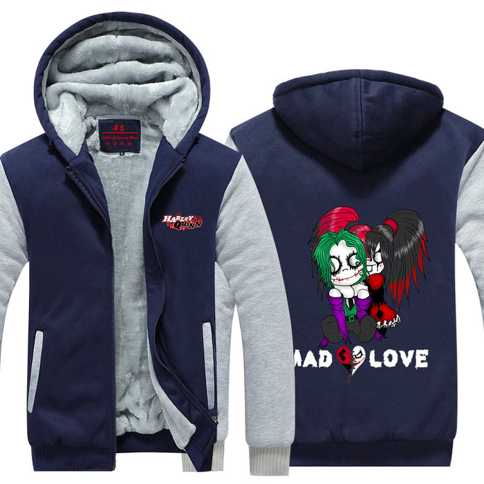 Harley Quinn Joker Cute Mad Love Couple Cool Hooded Jacket - Superheroes Gears
