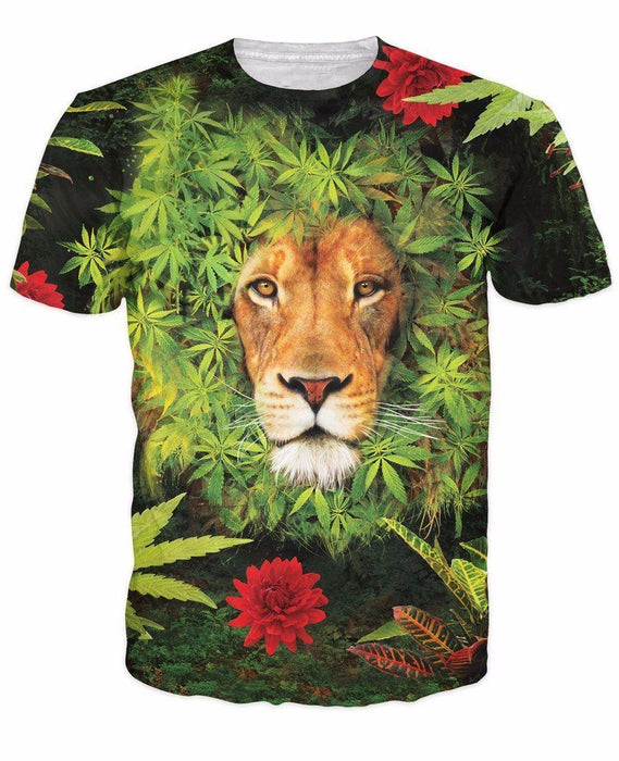 Herb Plant Weed Marijuana Leaves Lion's Mane Hipster Dope T-Shirt - Woof Apparel