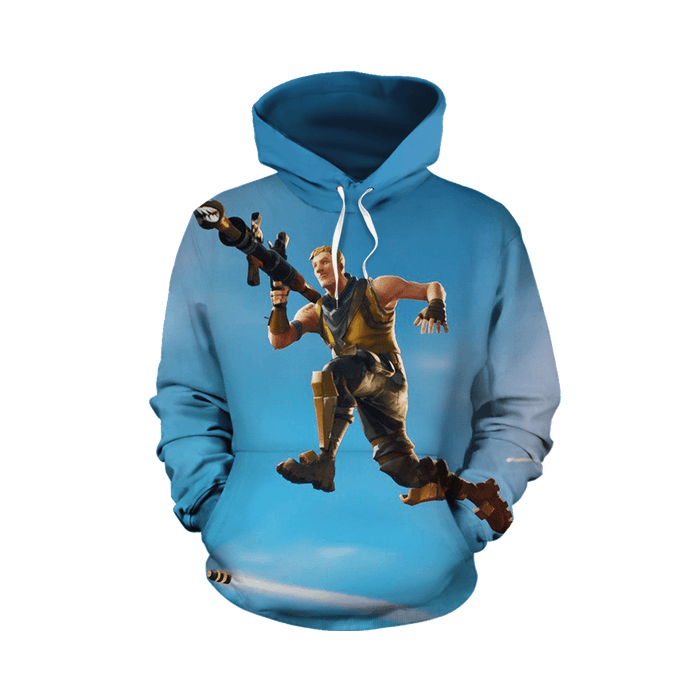 High Explosives Mode Fortnite Gameplay Sky Blue Hoodie