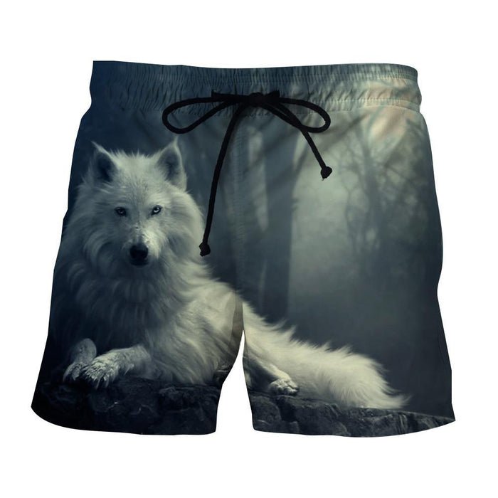 Hudson White Wolf Wilderness Simple Dark Portrait Shorts - Woof Apparel