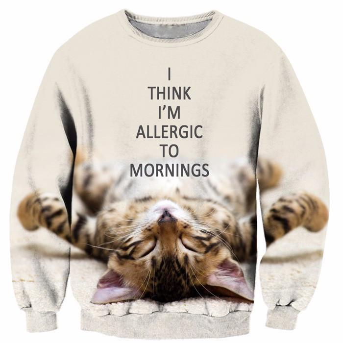 I Think I'm Allergic To Mornings Lazy Cute Kitty Cat Crewneck Sweatshirt - Woof Apparel