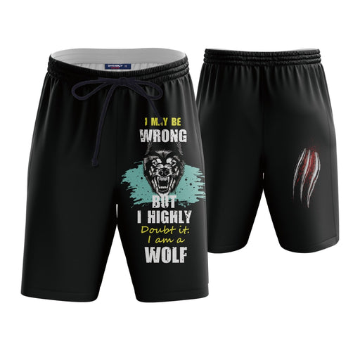 I am a Wolf Cool Slogan Black Boardshorts Swim Trunks