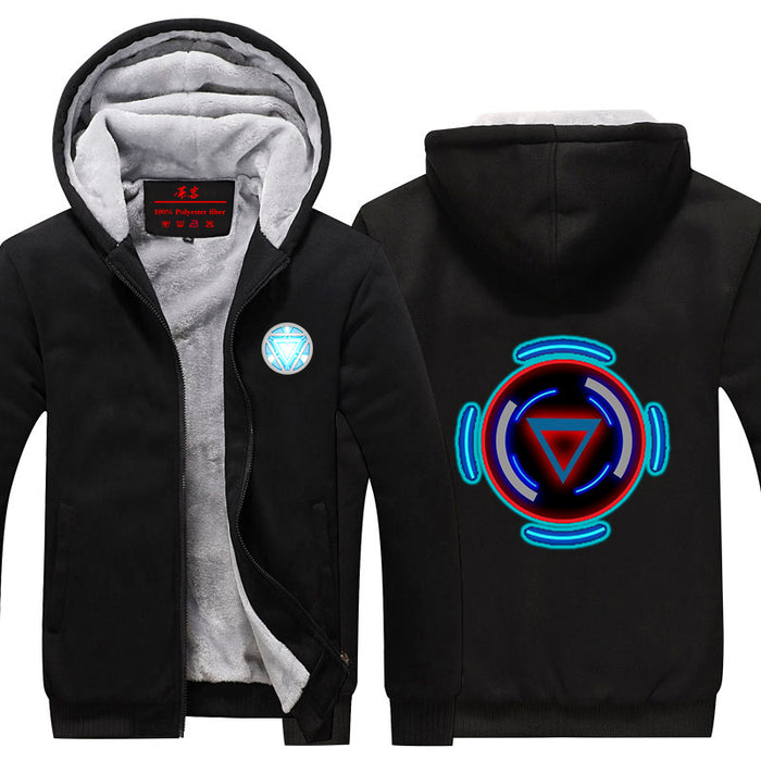 Iron Man Avengers Big Centered Arc Reactor Nice Hooded Jacket - Superheroes Gears