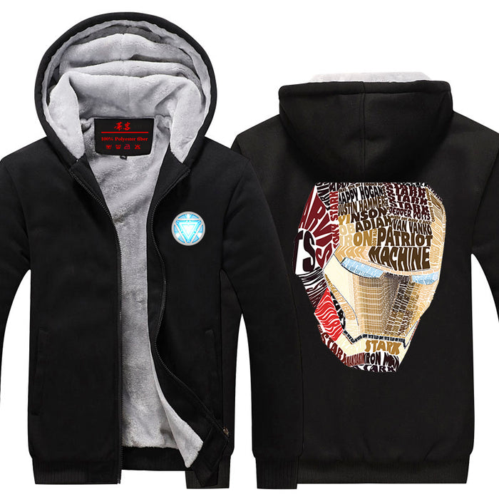 Iron Man Avengers Big Mask Typographic Pattern Hooded Jacket - Superheroes Gears