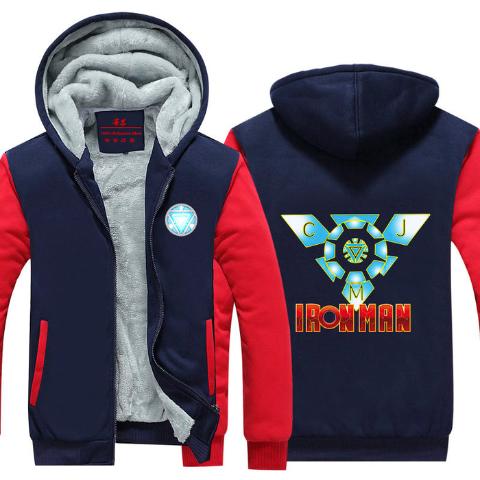 Iron Man Avengers Designed Blue Arc Reactor Hooded Jacket - Superheroes Gears