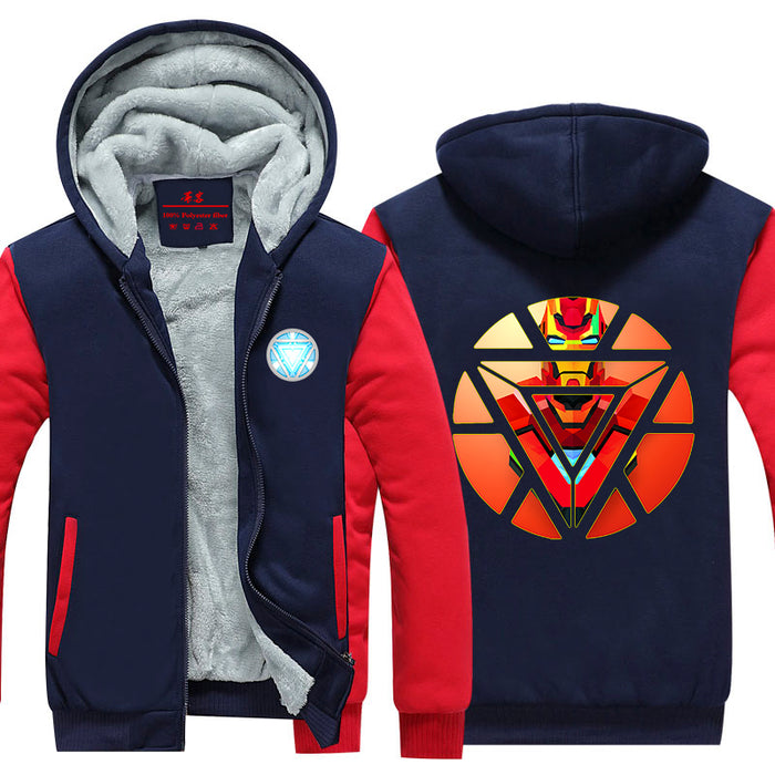 Iron Man Avengers Red Art Arc Reactor Symbol Hooded Jacket - Superheroes Gears