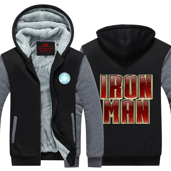 Iron Man Big Red Gold Centered Logo Avengers Hooded Jacket - Superheroes Gears