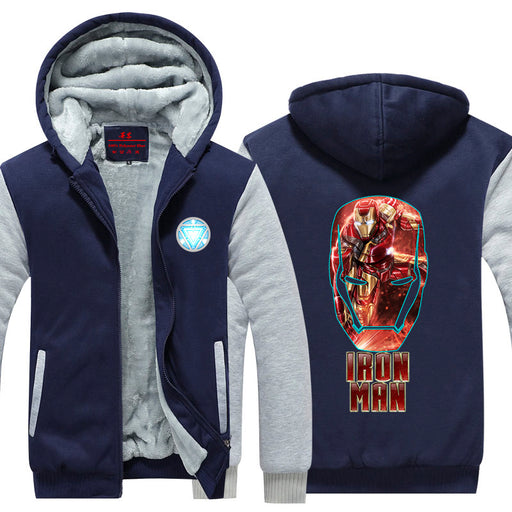 Iron Man Big Red Gold Mask Logo Avengers Hooded Jacket - Superheroes Gears