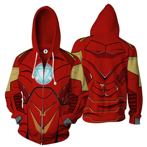 Iron Man Classic Red & Gold Armor 3D Cosplay Zip Up Hoodie