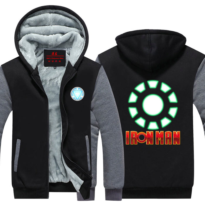 Iron Man Green Arc Reactor & Letter Symbol Hooded Jacket - Superheroes Gears