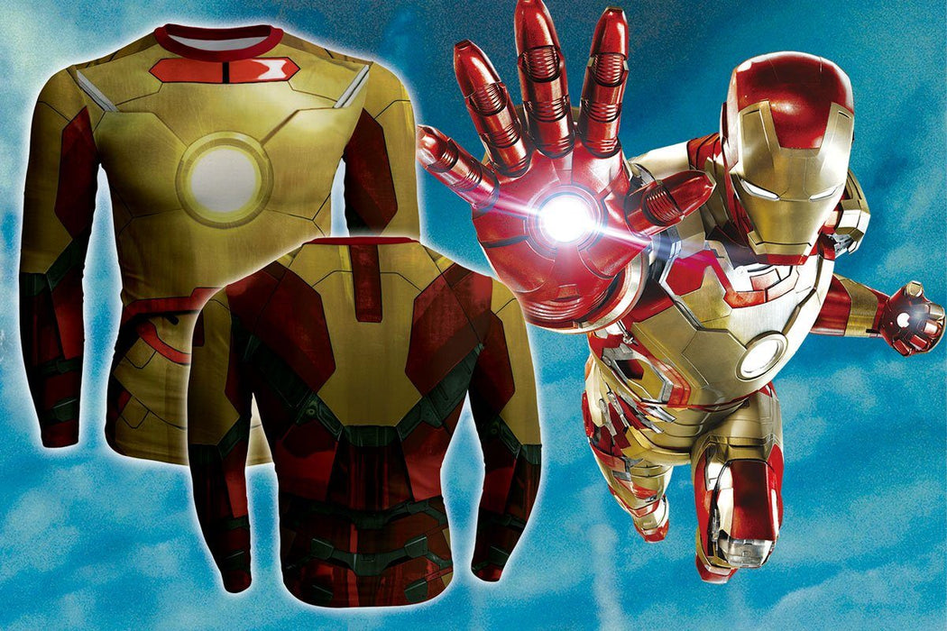 Iron Man Long Sleeves 3D Full Print Compression Gym T-shirt - Superheroes Gears