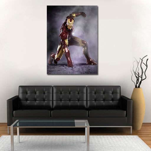 Iron Man Superhero Landing Pose 1pc Wall Art Canvas Print