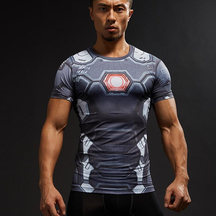 Ironman Superhero Classic Design Compression Short Sleeves Fitness T-shirt - Superheroes Gears