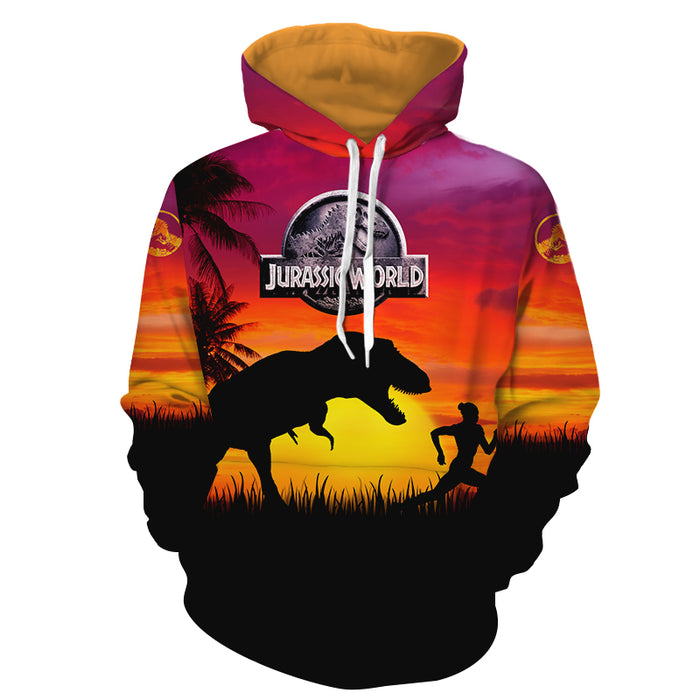 Jurassic World Fallen Kingdom T-Rex Hot Orange Sunset Hoodie