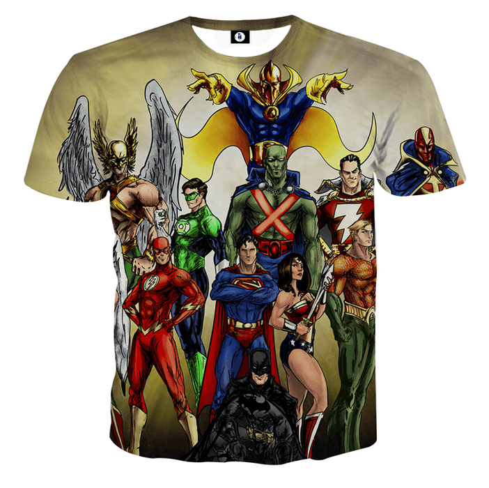 Justice League DC Superheroes Characters Full Print T-Shirt - Superheroes Gears