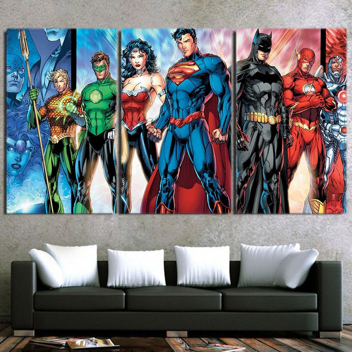 Justice League Incredible Art Design 3pcs Canvas Print