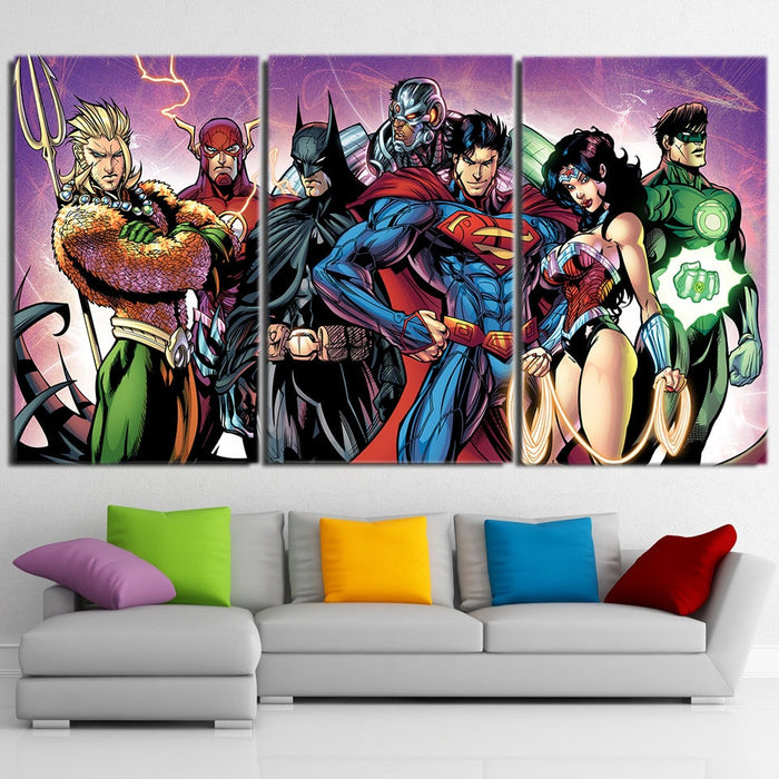 Justice League Superheroes Union 3pcs Canvas Print