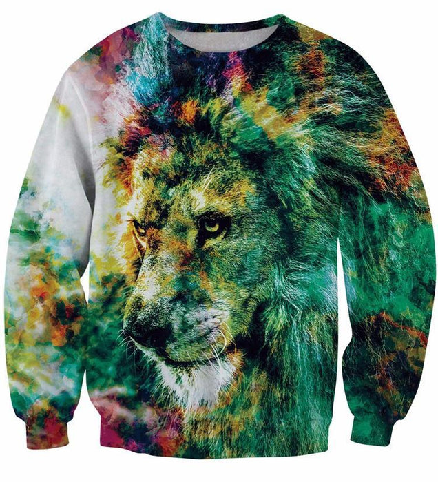 King of Colors Cool Lion Pop Art Painting Vintage Crewneck Sweatshirt - Woof Apparel