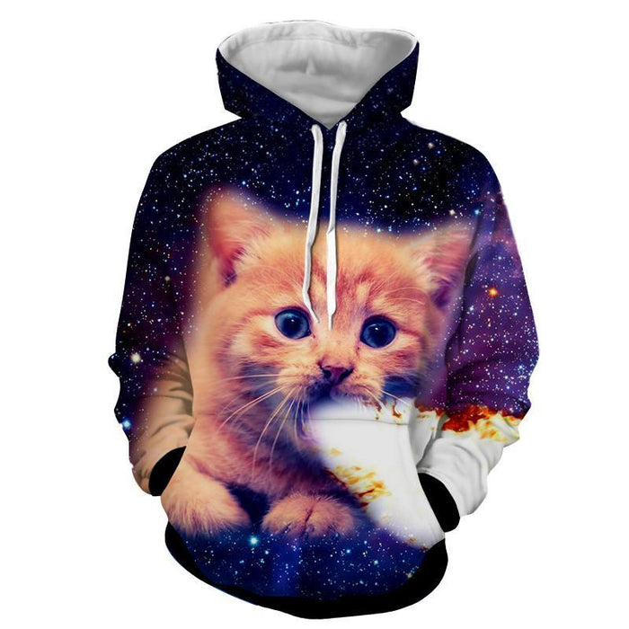 Kitten Portrait Catching Fire Luminous Funny Style Hoodie - Woof Apparel