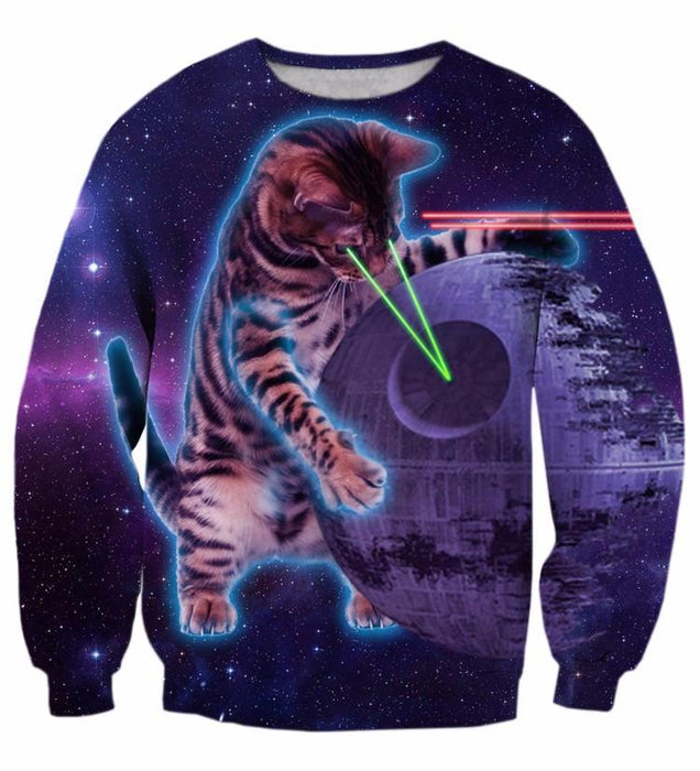 Lazer Giant Cat Kitten God Galaxy Space 3D Futuristic 3D Sweatshirt - Woof Apparel