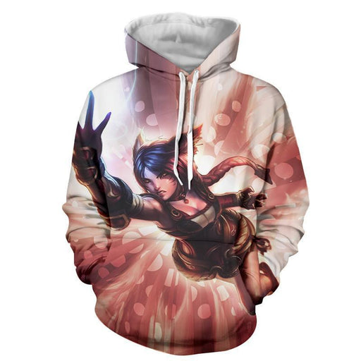 League of Legends Ahri Nine Tails Fox Battle Fighter 3D Print Hoodie - Superheroes Gears