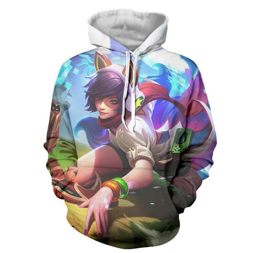 League of Legends Ahri Female Fighter Lively Color Art Style Hoodie - Superheroes Gears